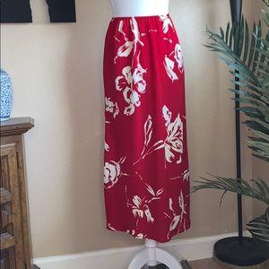Vintage 90s midi floral red skirt Sz 8